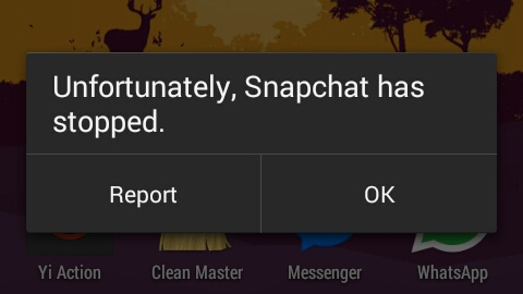 fix unfortunately Snapchat has stopped error