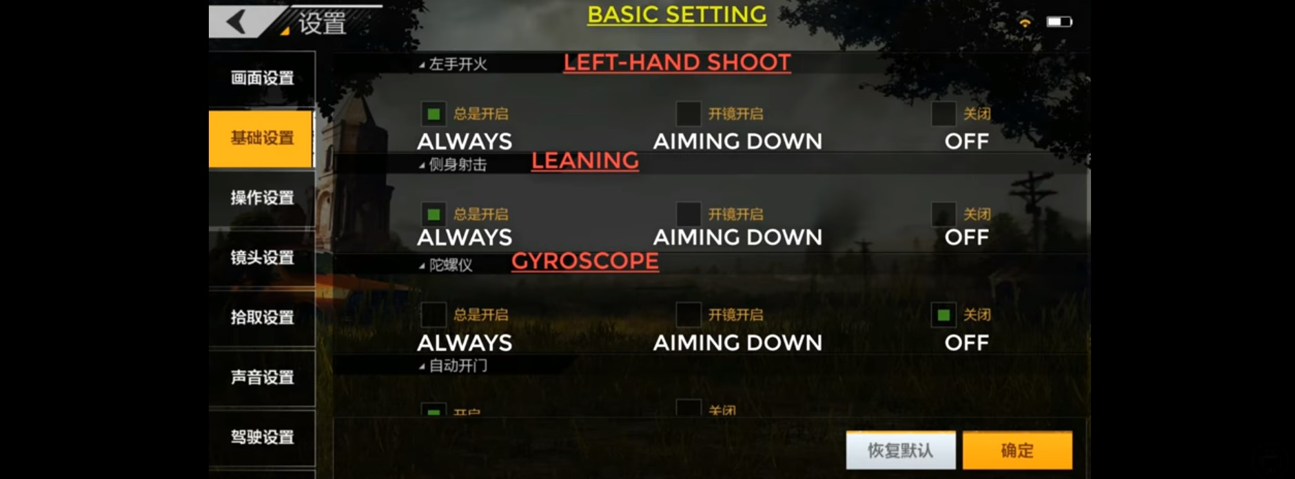 pubg mobile basic settings