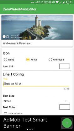 Customize Xiaomi Mi A1 Camera Watermark