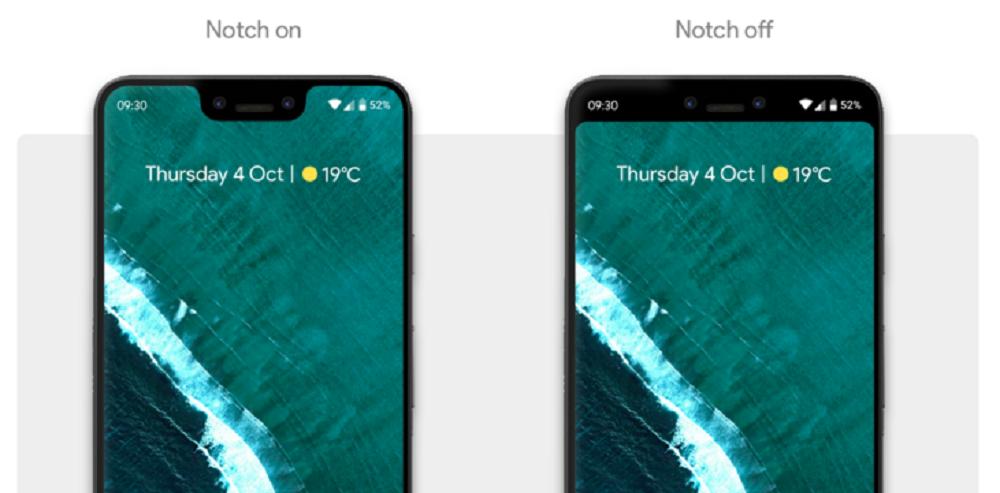 Hide Notch on Google Pixel 3 XL