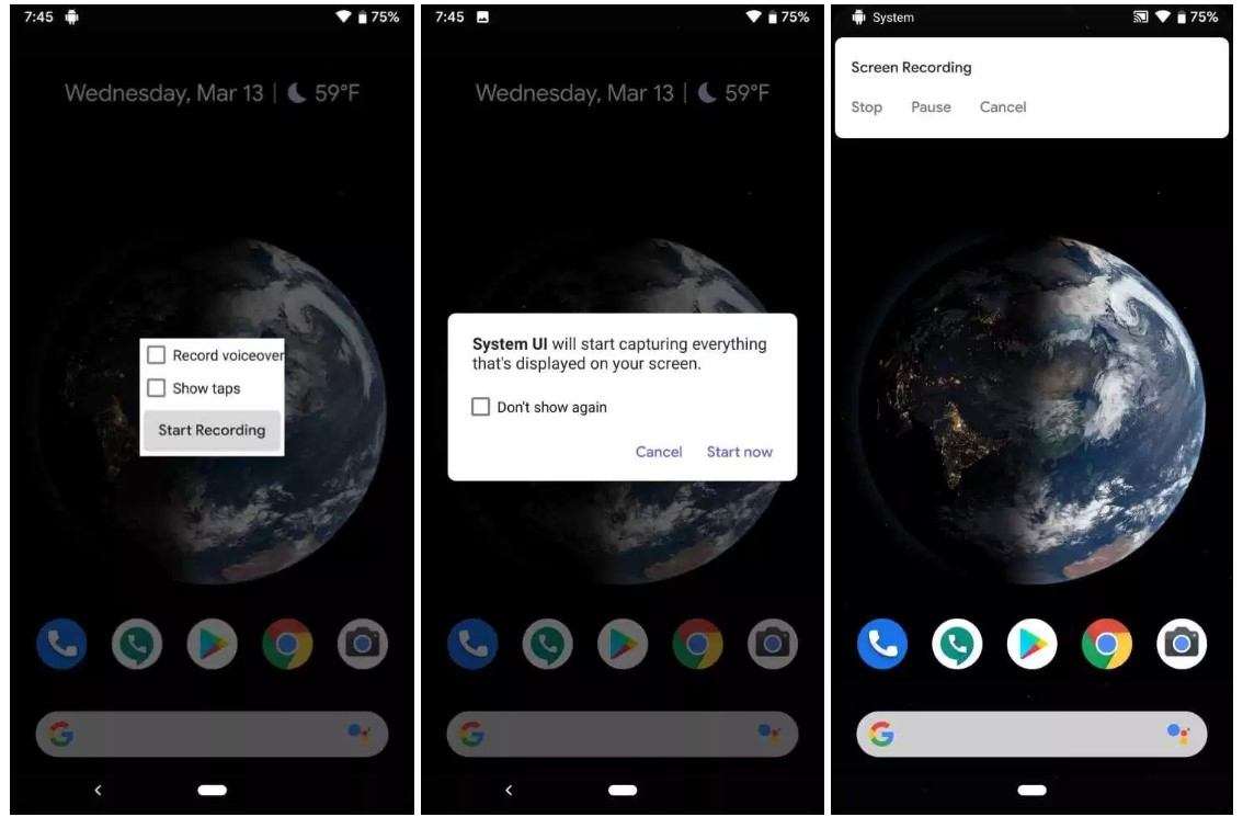 enable screen recorder on Android Q