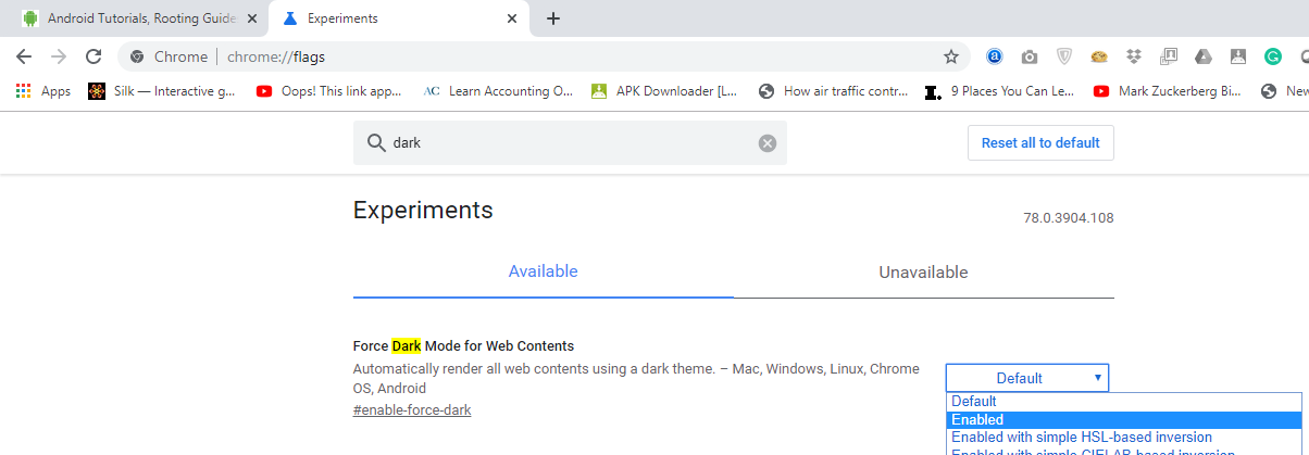 enable Dark Mode on Chrome